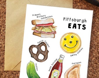 Pittsburgh Greeting Card / Pittsburghese Card / Pittsburgh Food Card / Pittsburgh Restaurants Card / Card for Yinzer / Pittsburgh Art
