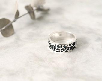 Giraffe pattern ring 925 Sterling Silver