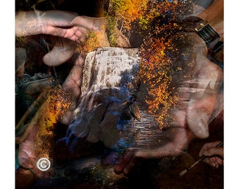 Photo of Hands,Ithaca Falls in Fall,Abstract Waterfall Photography,Hand Photography,Hands Montage,Waterfall in Hands,Hands Contemporary Art