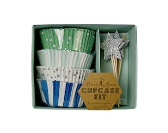 Meri Meri Toot Sweet Blue Cupcake Kit - Gift Packaging Paper Party Supplies