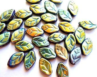 20 Czech glass beads, leaf shape,  leaves 13mmx8mm, blue green