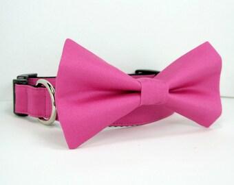 Wedding dog collar- Fuchsia Pink Dog Collars with bow tie set  (Mini,X-Small,Small,Medium ,Large or X-Large Size)- Adjustable