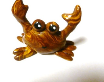 Mini Marble Friends Not So Crabby Crab Brown and Gold Swirl