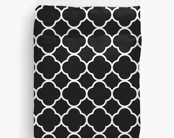 Quatrefoil Duvet Cover, Black and White Bedding, Guest Bedroom Decor, New Apartment Decor, Teen Room Decor, Dorm Bedding, King, Queen, Twin