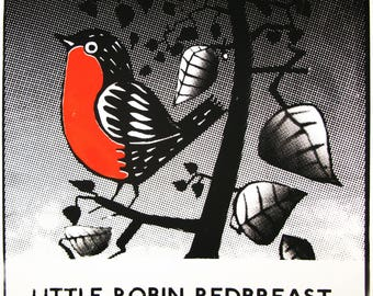 Robin  redbreast  hand printed screen print