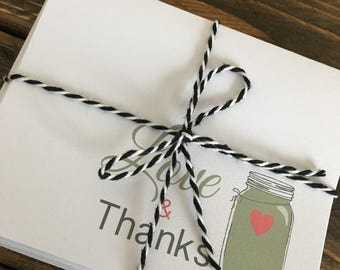Thank you cards / Set of 10, 5, or 1 / Mason Jar Thank you / Love and thanks / Thank you notes / Wedding thank you's / Bridal Shower cards