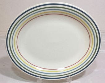 Suzie Cooper England Wedgwood Mid Century Oval Serving Platter Colorful Rings