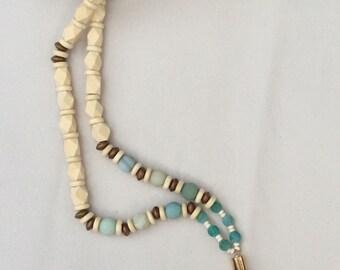 Leather Tassel Beaded Necklace/Layering Necklace/Boho Jewelry