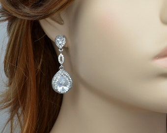 Bridal Drop Earrings, Silver Tone, Wedding Jewelry, Cubic Zirconia Crystals, Emma - Ships in 1-3 Business Days