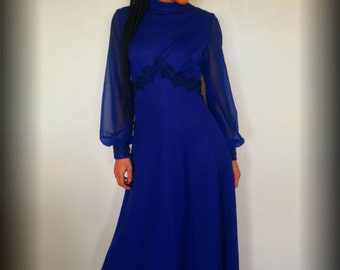 Vtg 70's BOHEMIAN HIPPIE navy blue empire waist maxi dress S