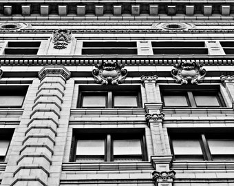 Urban Photography - Ornate Building - Detroit - Fine Art - Black and White - 8x10