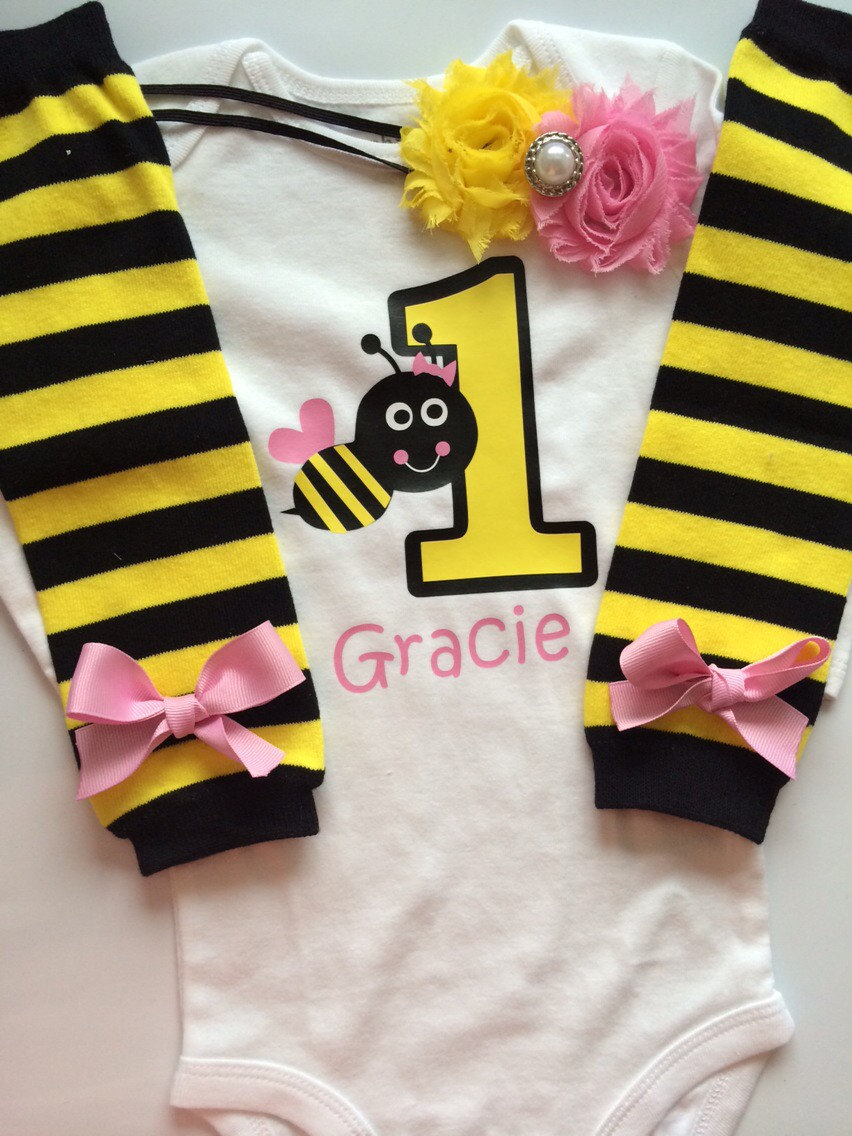 Baby Girl Outfit Bumble Bee 1st Birthday