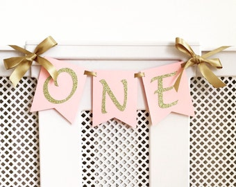 High chair banner. One Highchair banner. Smash cake. First birthday banner. Girl. Pink and gold