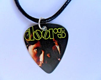 Handmade  THE DOORS   Guitar Ace of Spades Guitar Pick / Plectrum Leather Necklace