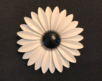 Black & White Enamel Flower Brooch Pin Vintage 3 1/4""