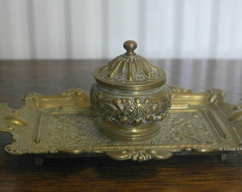 antique brass ink well on tray
