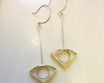 Eye Open Earrings, Soldered Brass, Sterling Silver Ear Wires, Outline Circle Fan, Art Deco, Geometric Mid-Century Modern