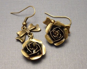 Metal Flower and Bow Earrings, Antique Bronze Earwires, # 2026