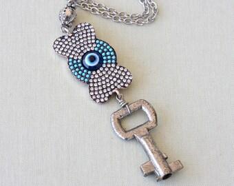 Rhinestone evil eye necklace vintage key necklace skeleton key charm jewelry valentines day gift for her upcycled jewelry