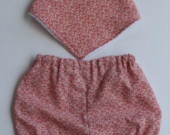 Handmade Baby Bloomers with matching Bandana Dribble Bib / 1980s Vintage Fabric / Peach Flowers / Blue
