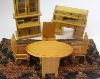 8 Piece Vintage Miniature Furniture. Yellow Wood Dining Room Table, 4 Chairs, Hutch, Desk, Rug cut from 1890s tapestry. Dollhouse Furniture.