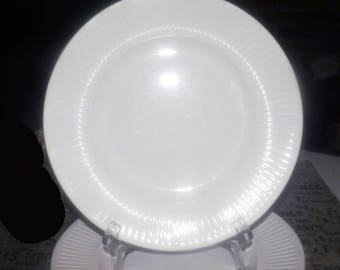 Set of 3 vintage (1980s) Johnson Brothers Athena White classic ironstone ribbed dinner plates. Different backstamps.
