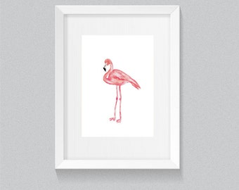 Pink Flamingo Standing Watercolour / Watercolor Print / Nursery Decor | PRINT