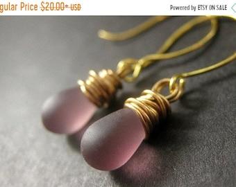 MOTHERS DAY SALE Purple Briolette Earrings. Wire Wrapped Earrings. Amethyst Clouded Glass Earrings in Gold - Elixir of Dreams. Handmade Earr