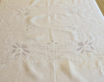 "Fancy Lace Tablecloth, Vintage Tablecloth, White, 52"" by 52""."