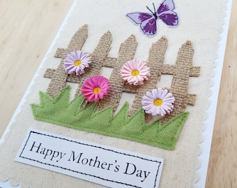 Mother's day applique butterfly and pastel quilled flower card