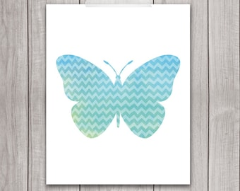Butterfly Art Print - 8x10 Printable Wall Art, Butterfly Print, Butterfly Wall Art, Nursery Printable, Watercolor, Blue