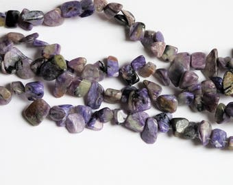 Genuine Charoite chips 10x12mm. Purple gemstone beads. Full strand