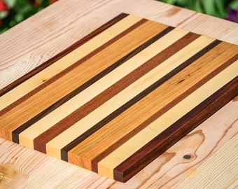 Mahogany, Maple, Cherry and Walnut Striped - Wood Serving Tray and Cutting Board
