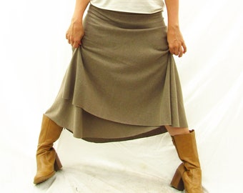 Below Knee Wrap Skirt - Hemp and Organic Cotton - Custom Made to Order