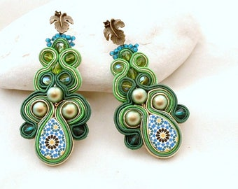 chandelier pearls leaf long soutache earrings - emerald Spanish tile style - Mosaic & Swarovski jewelry -  special gift for mom - ALHAMBRA _