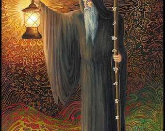 The Hermit Tarot Art 8x10 Fine Art Print  Psychedelic Surreal Goddess Art