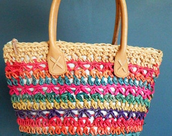 Vintage Boho Purse in Rainbow Stripe / Colorful Boho Chic Purse / Woven Shoulder Bag in Rainbow Colors