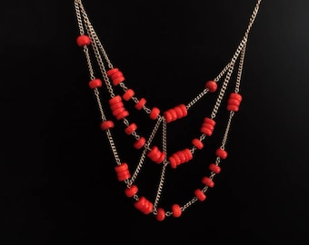 Coral Asymmetrical vintage bead necklace