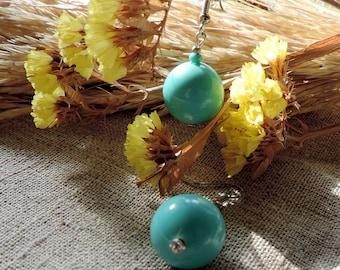 Turquoise dangle earrings Vintage beads balls 80s drop earrings Pierced Ears minimal chandelier earrings handmade