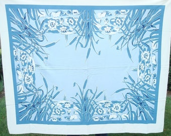 Vintage blue tablecloth, mid-century blue cattail cloth, like-new vintage tablecloth, rich denim blues over white, water lilies & cattails