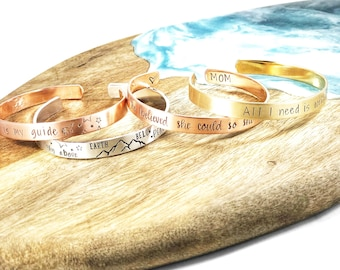 Personalized cuff bracelet • Custom bracelet • Gift for friend • Sterling silver • Gold • Rose Gold • Hand stamped jewelry