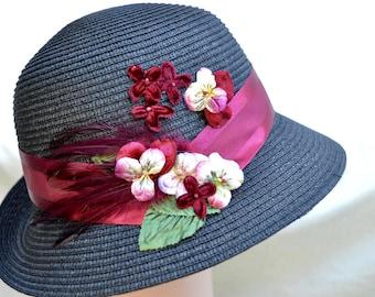 Black Cloche Hat / Downton Abbey Cloche Hat / Packable Hat / Vintage Inspired  Hat / Wedding Guest Hat / Tea Party Hat