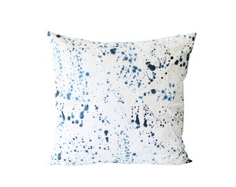 Blue Ink Splatter Pillow Cover | Blue And White Cushion Cover | Decorative Pillow cover