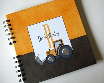Baby Book    Baby Memory Album   Construction - Yellow & Brown Tractor -  Wire Bound Baby Memory Book