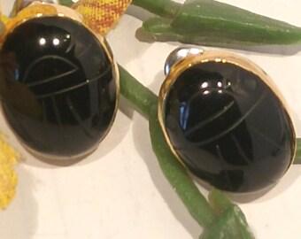 Vintage Onyx Scarab Oval Post Earrings