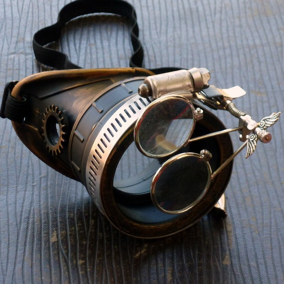 Steampunk goggles monocle eyepatch costume biker glasses clear