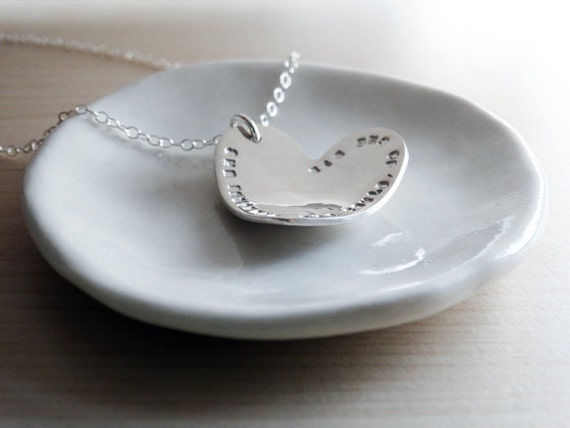 Silver Heart Necklace With Personalised Message - Sterling Silver