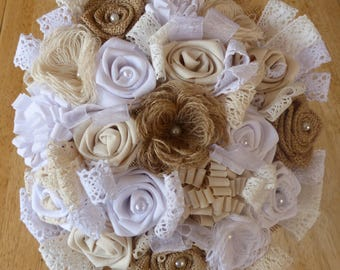 "Bridal bouquet of style ""vintage"" with fabric flowers and burlap"