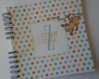 Baby Book    Baby Memory Album   Monkey Polka dots Wire Bound Baby Memory Book