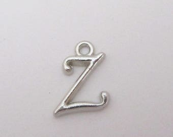Letter Z Beads - Silver Charm Uppercase Alphabet - Silver Alphabet Initial Pendant - Jewelry findings - 8 PCS - DIY Personalized Jewelry